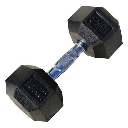 Гантель гексагональная обрезиненная 15 кг